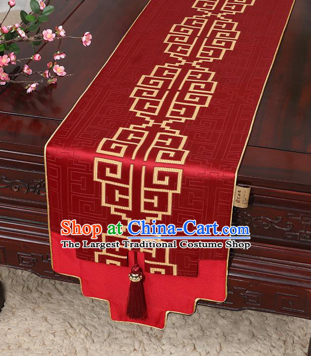 Chinese Classical Household Ornament Red Brocade Table Flag Traditional Handmade Jade Pendant Table Cover Cloth