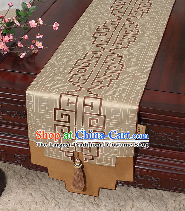 Chinese Classical Household Ornament Brocade Table Flag Traditional Handmade Jade Pendant Table Cover Cloth
