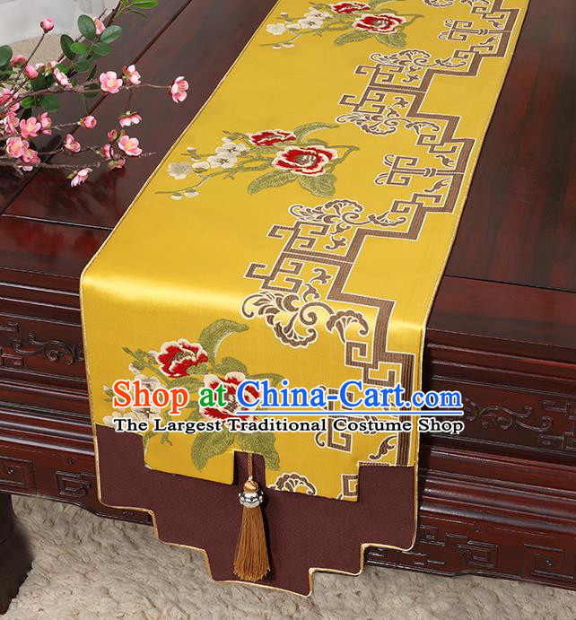 Chinese Classical Household Ornament Golden Brocade Table Flag Traditional Handmade Jade Pendant Table Cover Cloth