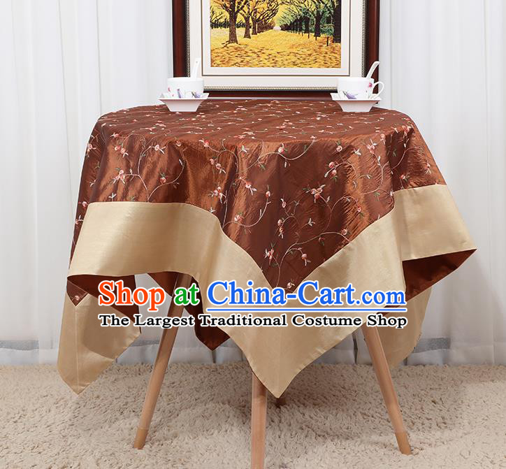 Chinese Classical Household Brown Brocade Table Cover Traditional Handmade Table Cloth Antependium