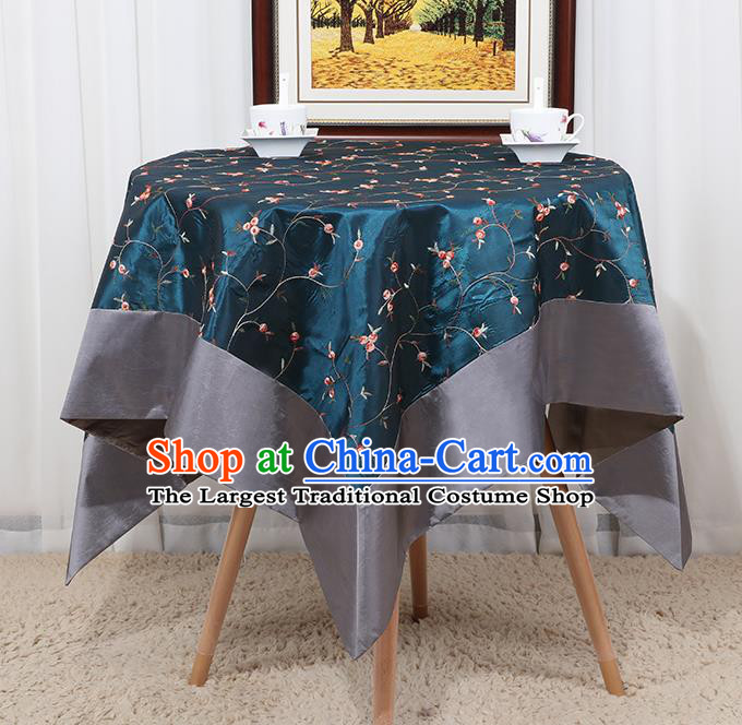 Chinese Classical Household Green Brocade Table Cover Traditional Handmade Table Cloth Antependium