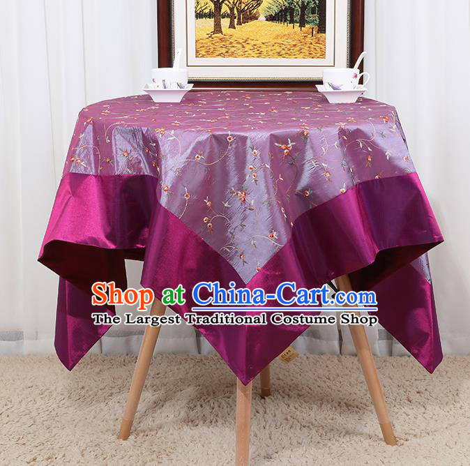 Chinese Classical Household Purple Brocade Table Cover Traditional Handmade Table Cloth Antependium