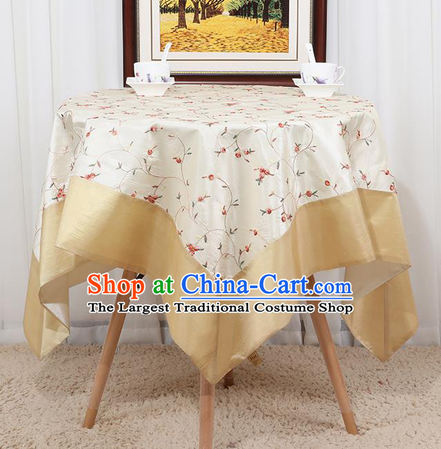 Chinese Classical Household White Brocade Table Cover Traditional Handmade Table Cloth Antependium