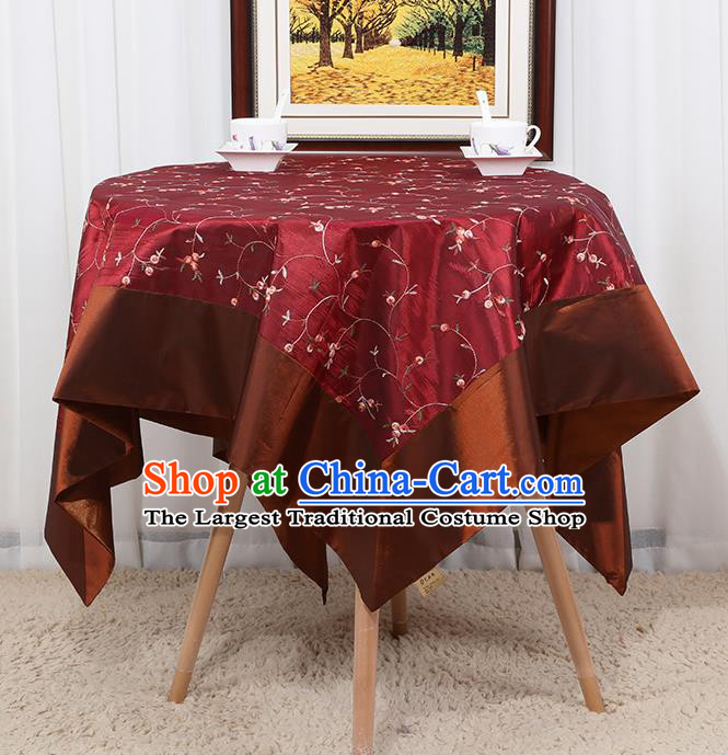 Chinese Classical Household Wine Red Brocade Table Cover Traditional Handmade Table Cloth Antependium