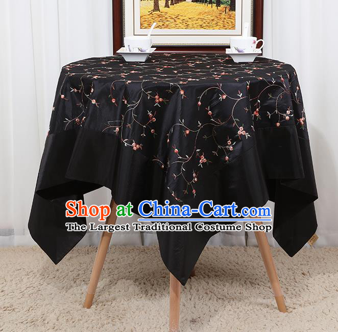 Chinese Classical Household Black Brocade Table Cover Traditional Handmade Table Cloth Antependium