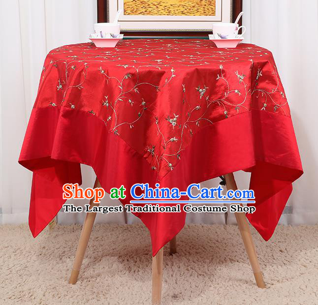 Chinese Classical Household Red Brocade Table Cover Traditional Handmade Table Cloth Antependium