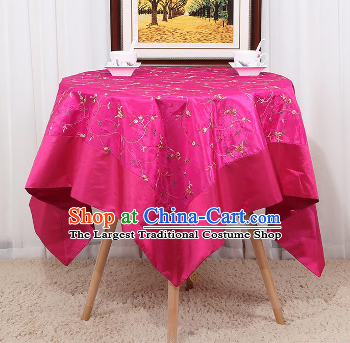 Chinese Classical Household Rosy Brocade Table Cover Traditional Handmade Table Cloth Antependium