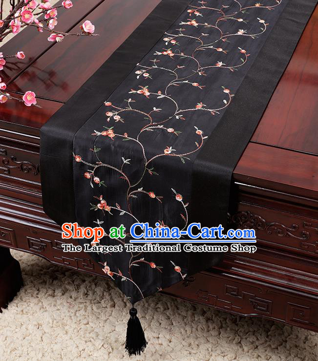 Chinese Traditional Handmade Table Cover Cloth Classical Household Ornament Black Brocade Table Flag