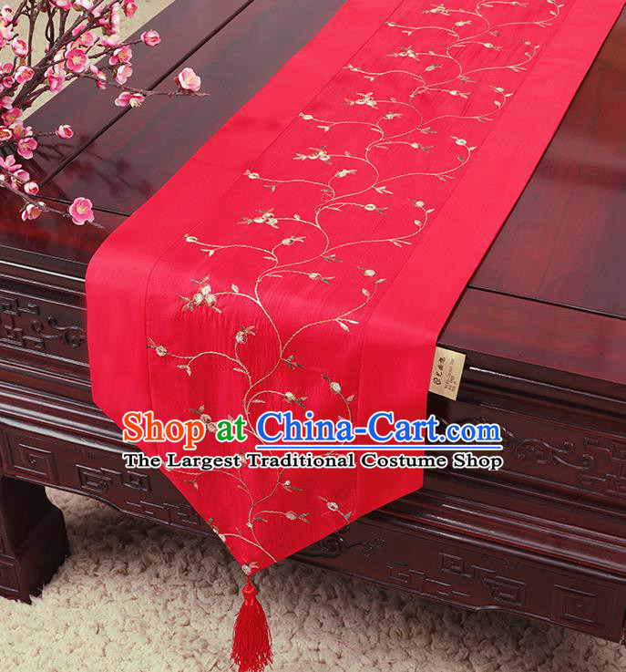 Chinese Traditional Handmade Table Cover Cloth Classical Household Ornament Red Brocade Table Flag