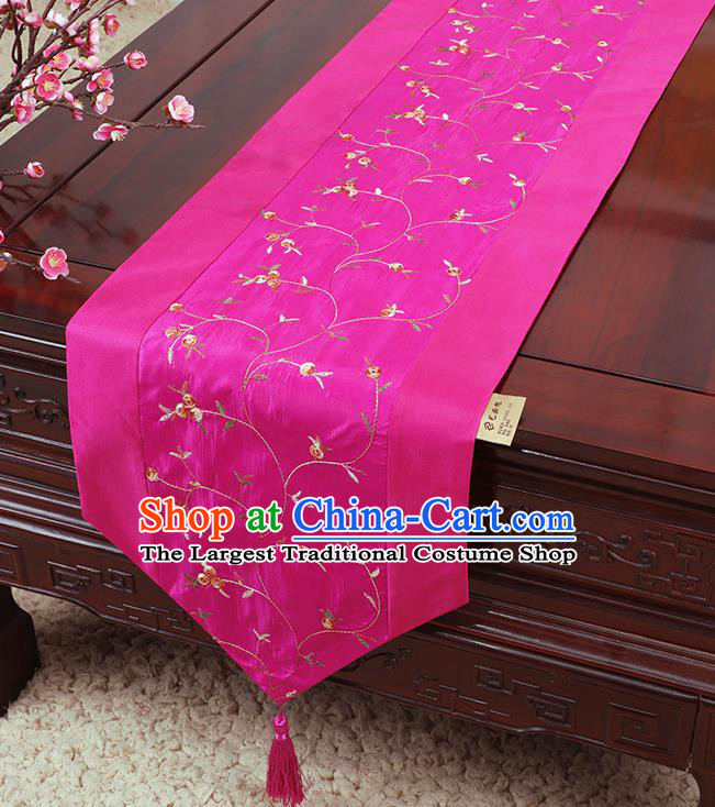 Chinese Traditional Handmade Table Cover Cloth Classical Household Ornament Rosy Brocade Table Flag