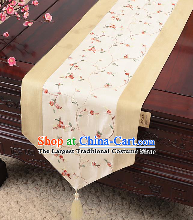 Chinese Traditional Handmade Table Cover Cloth Classical Household Ornament White Brocade Table Flag