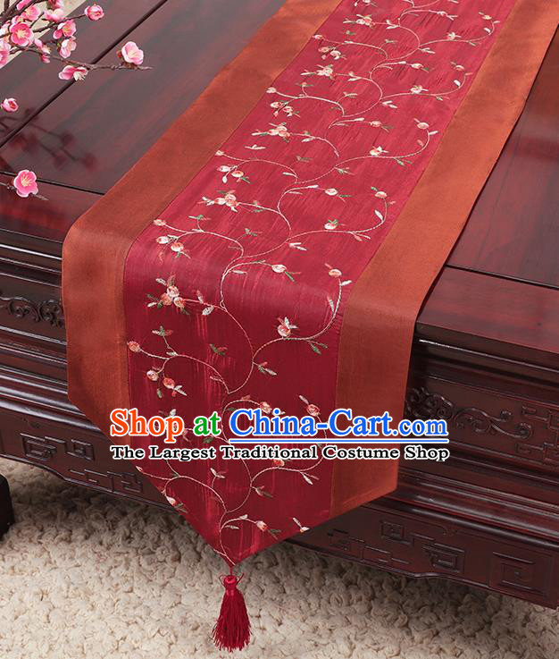 Chinese Traditional Handmade Table Cover Cloth Classical Household Ornament Wine Red Brocade Table Flag