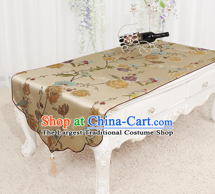 Chinese Classical Khaki Brocade End Table Cover Traditional Household Handmade Table Cloth