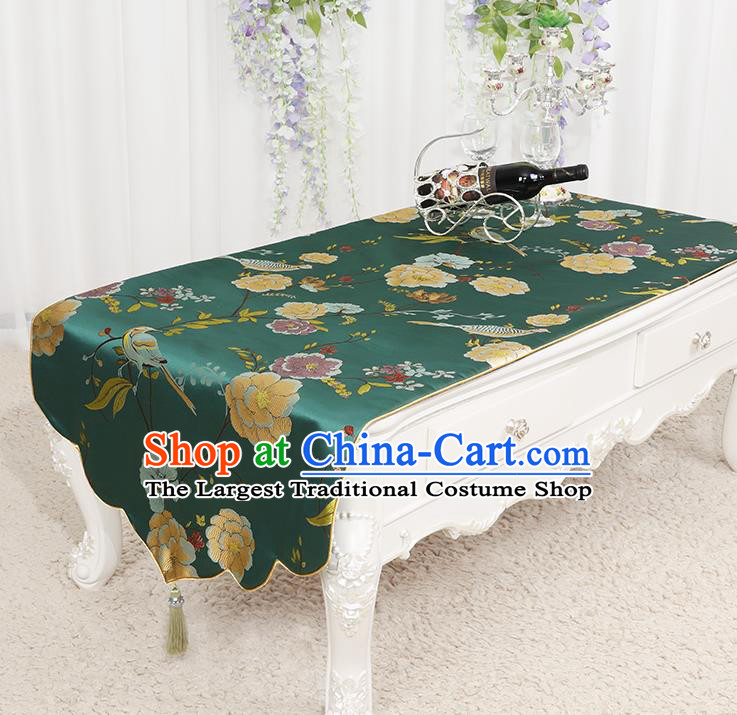 Chinese Classical Green Brocade End Table Cover Traditional Household Handmade Table Cloth