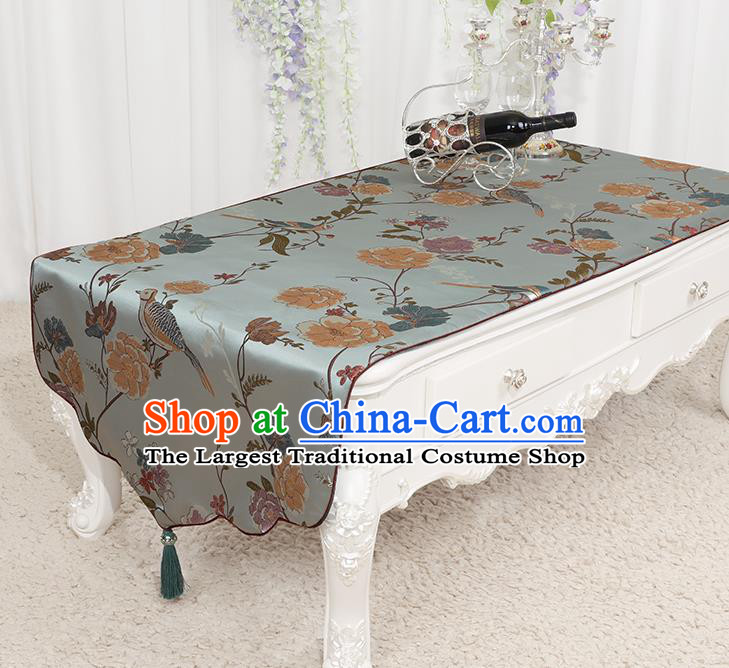 Chinese Classical Light Blue Brocade End Table Cover Traditional Household Handmade Table Cloth