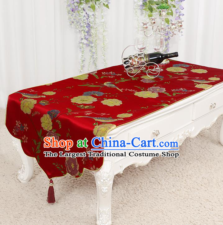 Chinese Classical Red Brocade End Table Cover Traditional Household Handmade Table Cloth