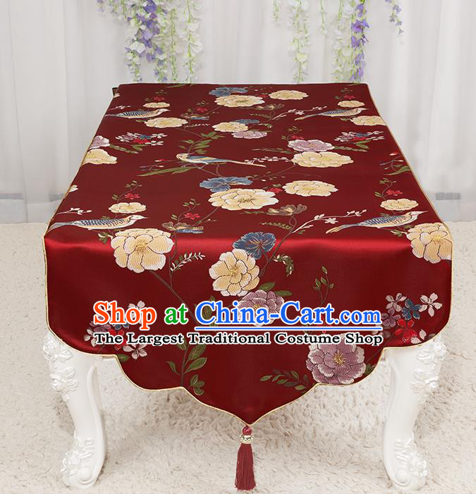 Chinese Classical Wine Red Brocade End Table Cover Traditional Household Handmade Table Cloth