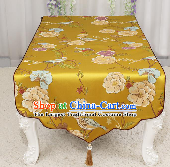 Chinese Classical Golden Brocade End Table Cover Traditional Household Handmade Table Cloth
