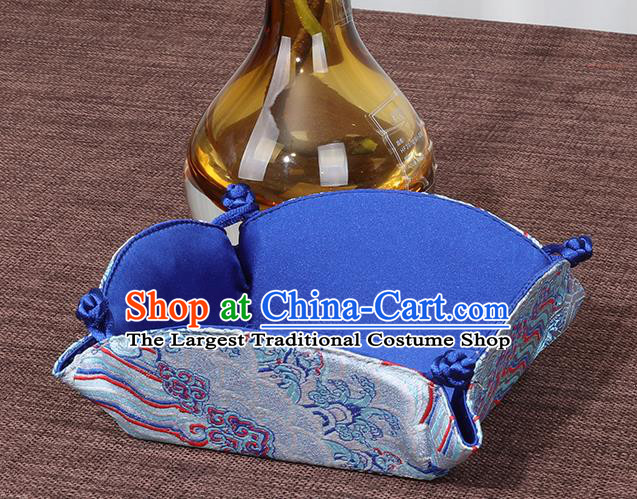 Chinese Traditional Household Accessories Classical Blue Brocade Storage Box Candy Tray