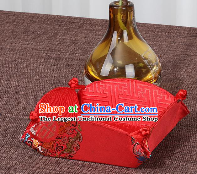 Chinese Traditional Household Accessories Classical Red Brocade Storage Box Candy Tray