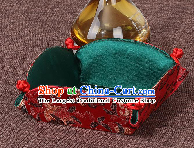 Chinese Traditional Household Accessories Classical Dragon Pattern Red Brocade Storage Box Candy Tray