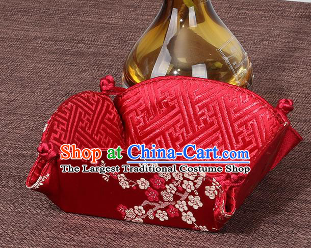 Chinese Traditional Household Accessories Classical Plum Blossom Pattern Red Brocade Storage Box Candy Tray