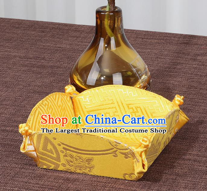 Chinese Traditional Household Accessories Classical Golden Brocade Storage Box Candy Tray