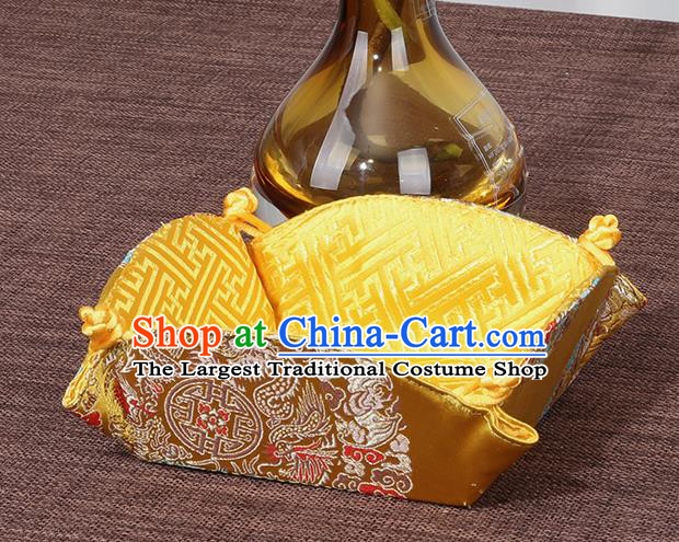 Chinese Traditional Household Accessories Classical Dragon Pattern Golden Brocade Storage Box Candy Tray