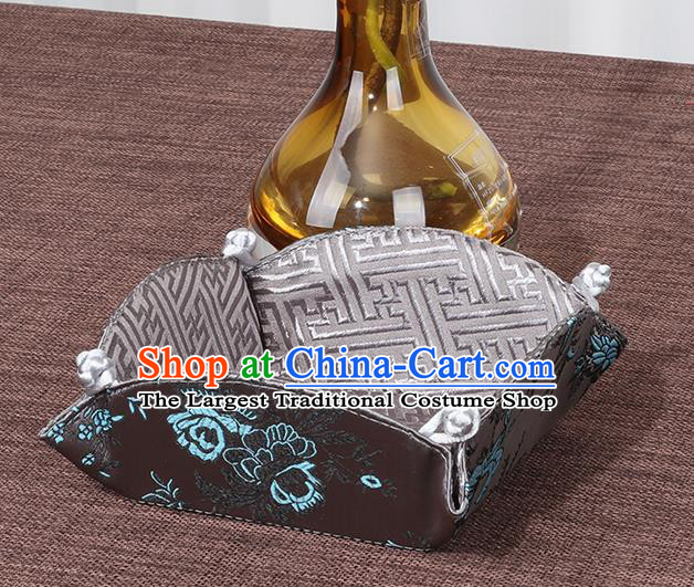 Chinese Traditional Household Accessories Classical Peony Pattern Brown Brocade Storage Box Candy Tray