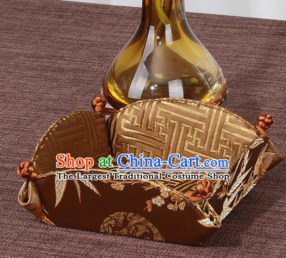 Chinese Traditional Household Accessories Classical Bamboo Pattern Brown Brocade Storage Box Candy Tray