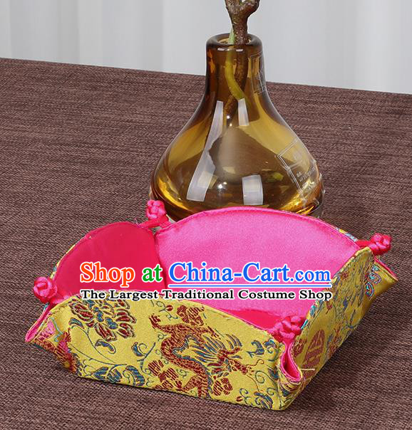 Chinese Traditional Household Accessories Classical Dragon Pattern Yellow Brocade Storage Box Candy Tray