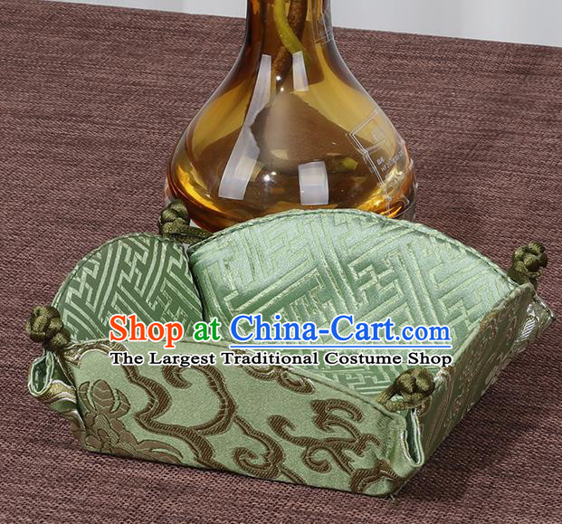 Chinese Traditional Household Accessories Classical Peony Pattern Green Brocade Storage Box Candy Tray