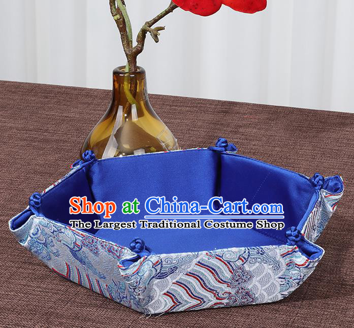 Chinese Traditional Household Accessories Classical Pattern Blue Brocade Storage Box Candy Tray
