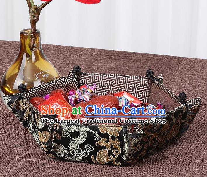 Chinese Traditional Household Accessories Classical Dragon Pattern Black Brocade Storage Box Candy Tray