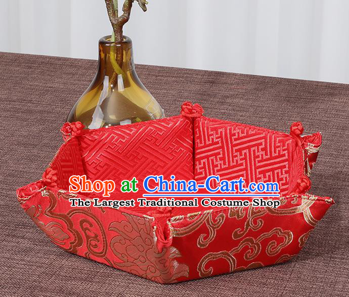 Chinese Traditional Household Accessories Classical Lotus Pattern Red Brocade Storage Box Candy Tray
