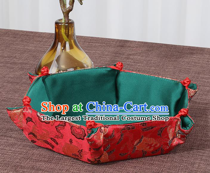 Chinese Traditional Household Accessories Classical Flowers Pattern Red Brocade Storage Box Candy Tray