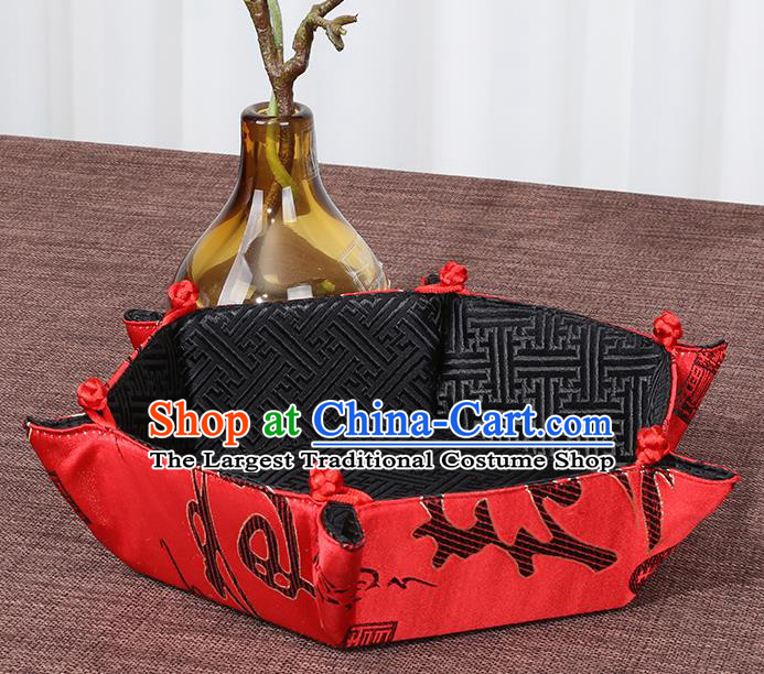 Chinese Traditional Household Accessories Classical Character Pattern Red Brocade Storage Box Candy Tray