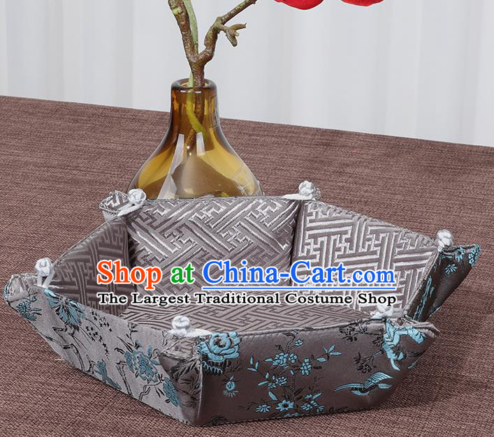Chinese Traditional Household Accessories Classical Flowers Pattern Grey Brocade Storage Box Candy Tray