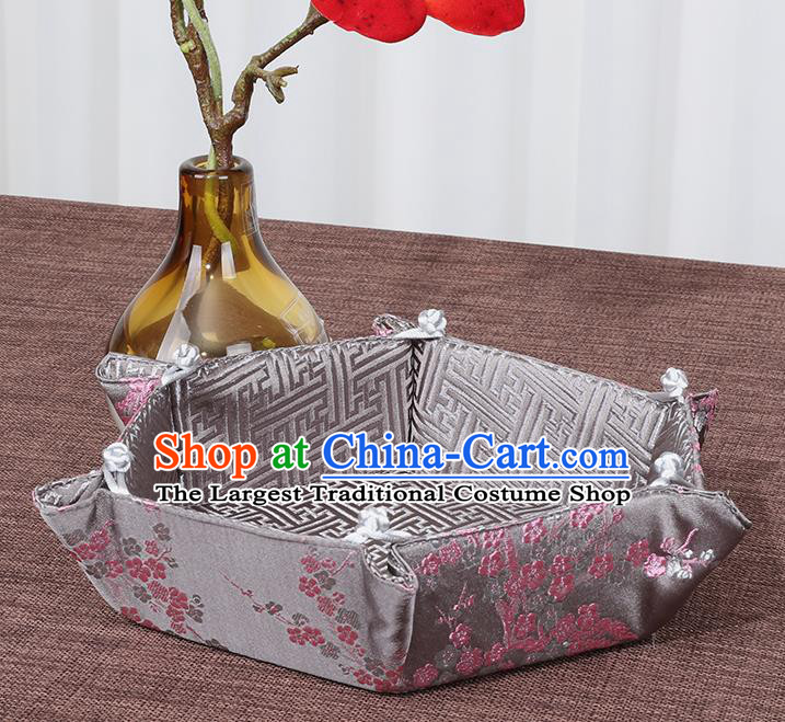 Chinese Traditional Household Accessories Classical Plum Blossom Pattern Grey Brocade Storage Box Candy Tray