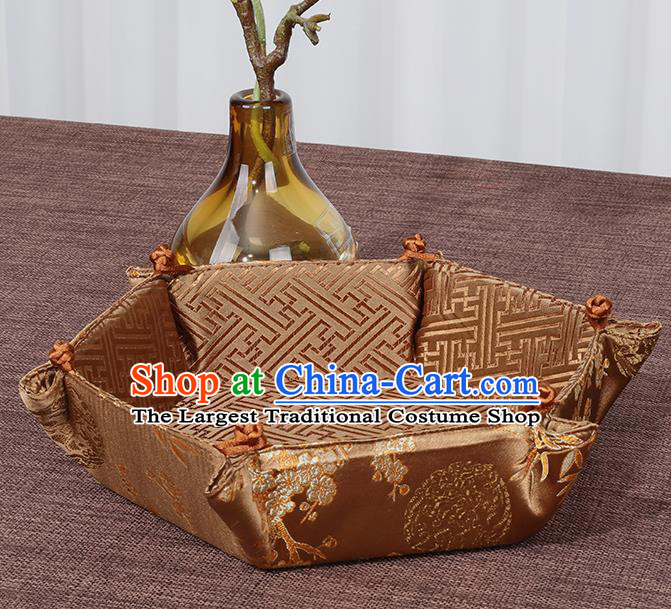 Chinese Traditional Household Accessories Classical Plum Blossom Pattern Bronze Brocade Storage Box Candy Tray