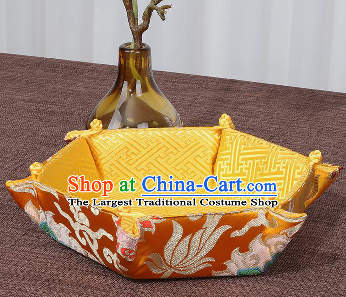 Chinese Traditional Household Accessories Classical Lotus Pattern Golden Brocade Storage Box Candy Tray
