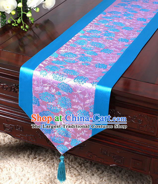 Chinese Traditional Table Cloth Classical Handmade Household Ornament Blue Brocade Table Flag