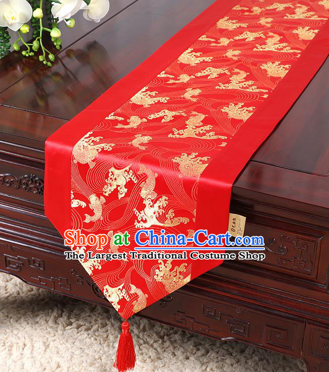 Chinese Traditional Table Cloth Classical Handmade Household Ornament Red Brocade Table Flag