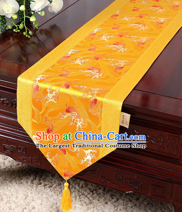 Chinese Traditional Table Cloth Classical Handmade Household Ornament Wave Pattern Golden Brocade Table Flag