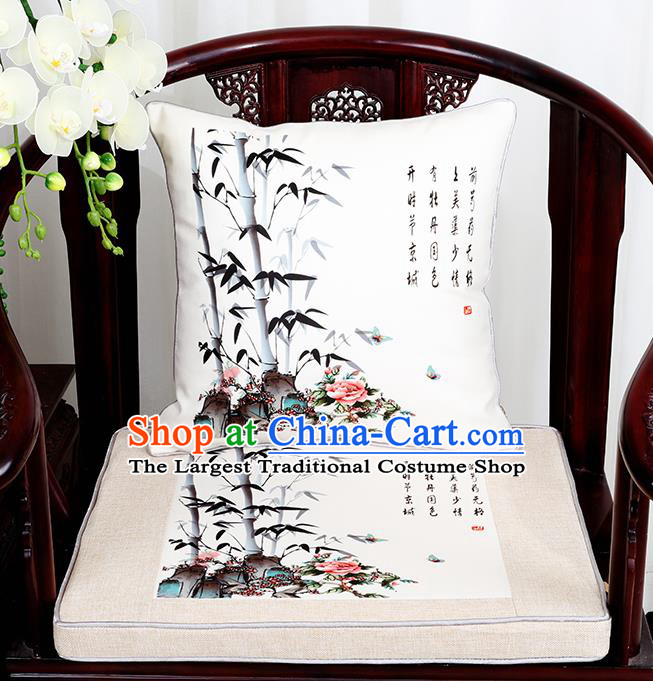 Chinese Classical Household Ornament Traditional Bamboo Pattern White Brocade Cushion Cover and Armchair Mat Cover