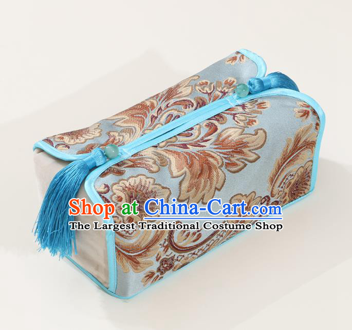 Chinese Traditional Household Accessories Classical Pattern Blue Brocade Paper Box Storage Box Cover