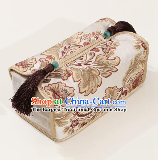Chinese Traditional Household Accessories Classical Pattern Beige Brocade Paper Box Storage Box Cover
