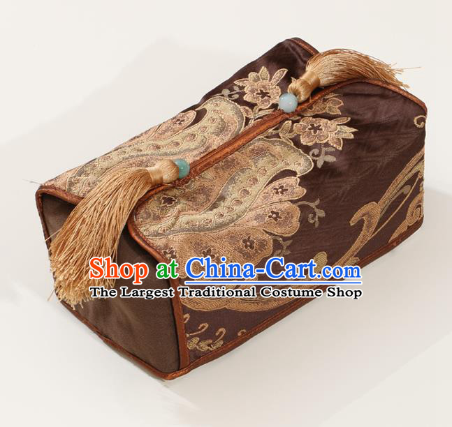 Chinese Traditional Household Accessories Classical Pattern Brown Brocade Paper Box Storage Box Cover