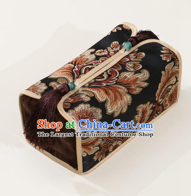 Chinese Traditional Household Accessories Classical Pattern Black Brocade Paper Box Storage Box Cover
