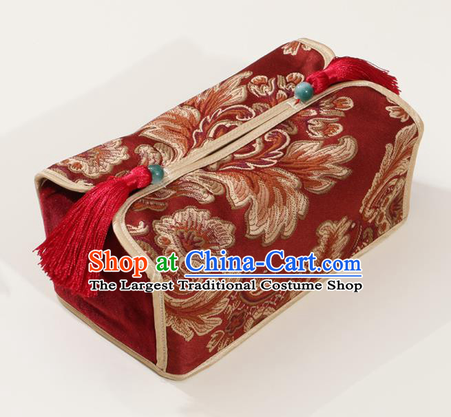 Chinese Traditional Household Accessories Classical Pattern Red Brocade Paper Box Storage Box Cover